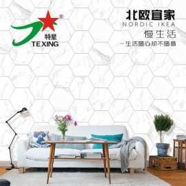 Floor Pure Carrara White Marble look  Hexagon tiles