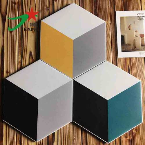 Hand Painted White Hexagon Tile For Wall Decoration