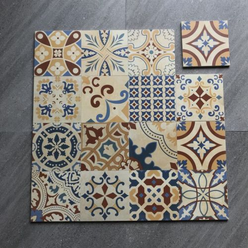 200 x 200mm floral wall and floor art tile