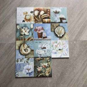 Matt Finish Ceramic Floor Non Slip Rustic  Ink painting style Tile