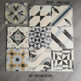 New design white and black colorful 300*300mm Artificial encaustic cement tiles for restaurant