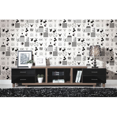 Moose pattern childhood style  bedroom floor and wall tiles