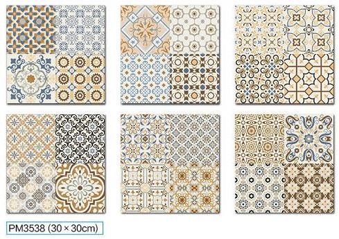Encaustic  Handmade Ceramic Tile