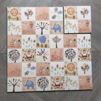 Autumnal carton patterned childhood style decorative tiles