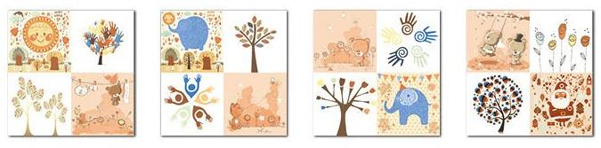 Autumnal carton patterned childhood style decorative tiles