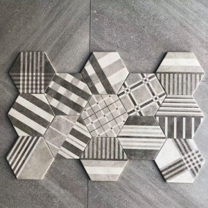 Marble look modern hexagon woven design Porcelain floor tiles