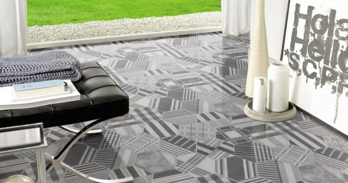 Marble look modern hexagon woven design Porcelain floor tiles
