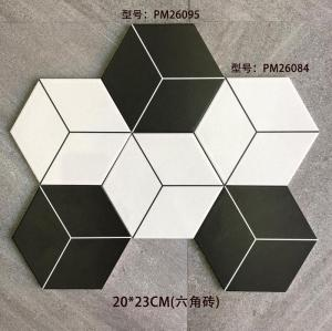 Black and white decorative hexagonal terracotta paving tiles suitable for wall and floor