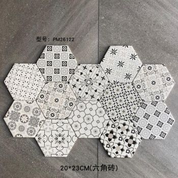 Hexagonal china glazed ceramic floor tile