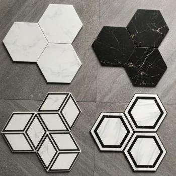 Hexagonal glazed ceramic floor tile