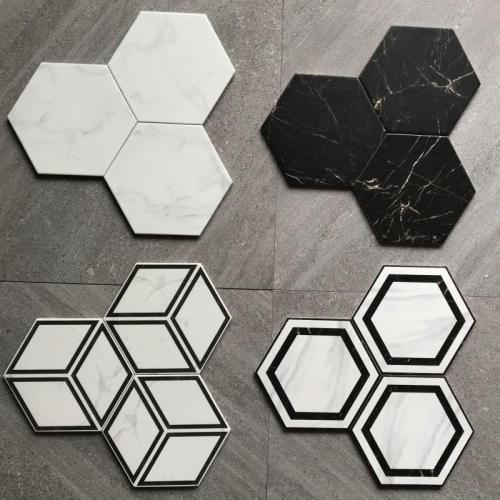 Hexagonal glazed marble pattern porcelain floor tile