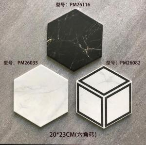 Hexagonal glazed marble pattern porcelain floor tile