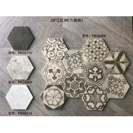 Cement flower Hexagon Emboss Japan Art Cement Deco Wall and Floor Tile