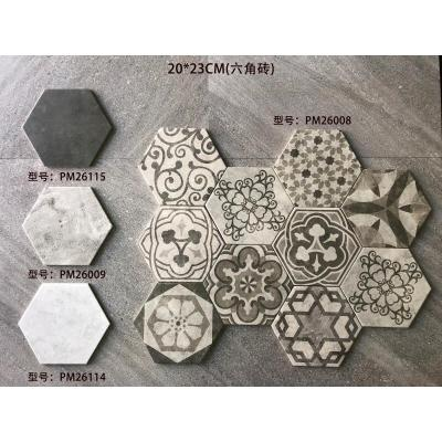 Cement flower Hexagon Emboss Japan Art Cement Deco Wall and Floor Tile