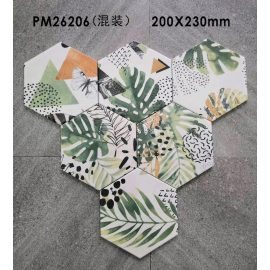Ceramic hexagon tile from China Green jungle design