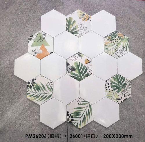 Ceramic hexagon tile from China Green jungle design