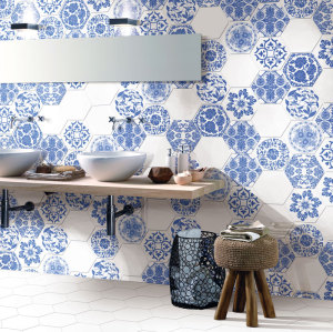Flower printed hexagon terracotta floor tile for kitchen and bathroom