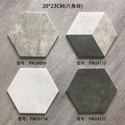 Hexagon cement look ceramic floor & wall grey color tile