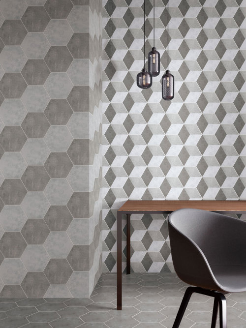 Hexagon cement look ceramic floor & wall grey color tile