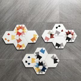 Glazed hexagon floor and wall tile for bathroom decoration