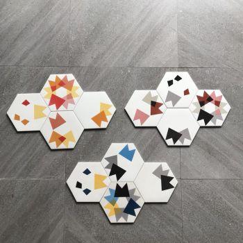 Glazed hexagon floor and wall tile for bathroom decoration