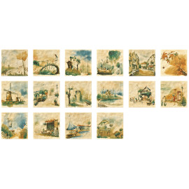 Handprint glazed ceramic floor and wall decorative tiles retro art style
