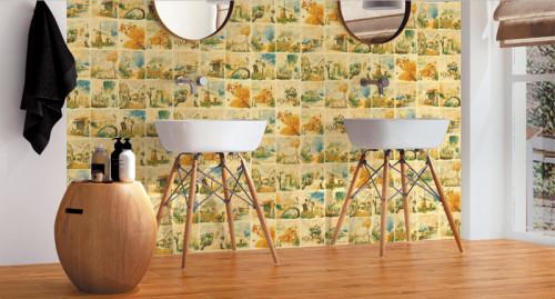 Handprint glazed ceramic floor and wall decorative tiles retro art style