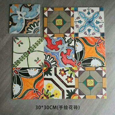 Hand printed 300x 300 ceramic tiles