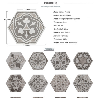 Cement flower pattern hexagon tiles