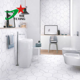 hexagon ceramic tiles with marble pattern