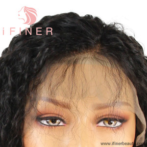 iFINER Bleached Knots Brazilian Virgin Human Hair Kinky Curly Full Lace Wigs For Women