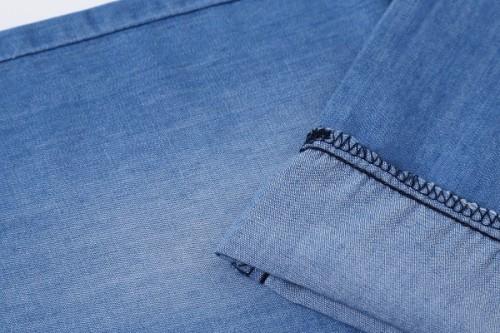 Custom design woven jeans for wholesale soft fabric denim 100% cotton light blue
