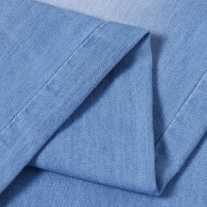 Custom design woven jeans for wholesale soft fabric denim 100% cotton light blue
