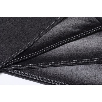 New style woven stretch polyester cotton bull elasticity black denim fabric prices