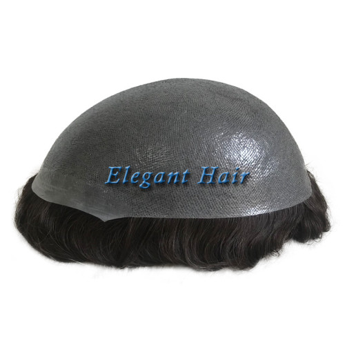Elegant Hair  Thin skin 0.04mm-0.06mm  #1B color human hair toupee