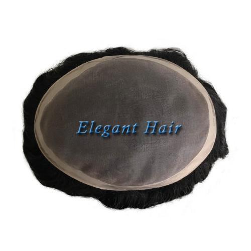 Elegant Hair human toupee fine mono with NPU around and long life