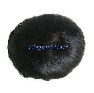 Elegant Hair full swiss lace base natural black color with full bleaching knots men toupee