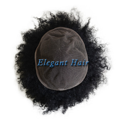 Elegant hair 6mm 1B# color full lace man weave