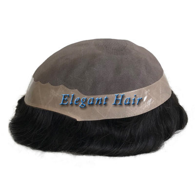 Elegant Hair human toupee fine mono with NPU around and long life
