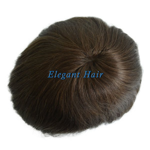 Elegant Hair Super Thin Skin Men's Hair Replacement with Lace Front