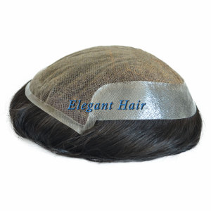 Elegant Hair SWISS Lace with PU on Sides and Back Toupee Hair Piece