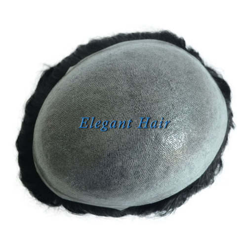 Mens Toupee Hair Replacement System Unit Men Hairpiece Thin Skin Human Hair