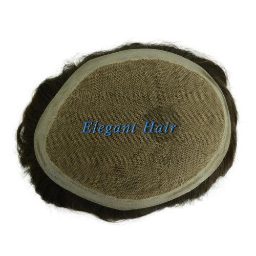 Elegant Hair Silk Mono Top with PU skin perimeter
