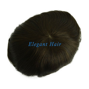 Elegant Hair Silk Mono Top with PU skin perimeter