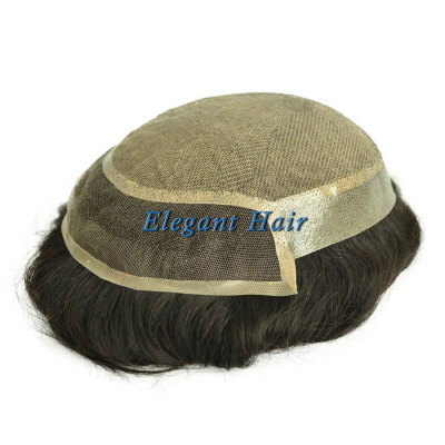 Elegant Hair Silk top with PU sides and back and lace front Mens Human Hair Wigs