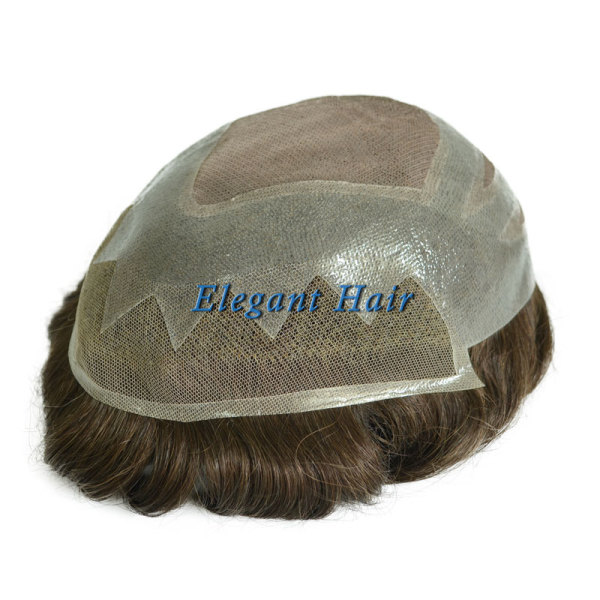 Eleganht Hair New style Fine Mono with Thin Skin and Lace Front Toupee with scallop