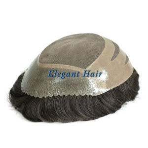 Elegant Hair Fine Mono with PU Perimeter and Cut SCALLOP Design Stock Toupee Hair Piece