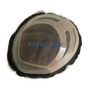 Elegant Hair Fine Mono with PU Perimeter and Cut SCALLOP Design Stock Toupee Hair Piece