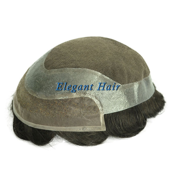 Elegant Hair swiss lace with Skin Perimeter and Fine Welded Mono in front Hair Replacement System