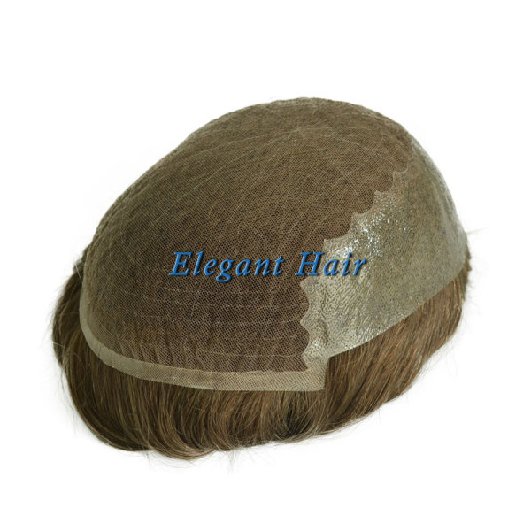 Elegant Hair Undetectable SWISS Lace with Thin Skin Back and Sides Hairpieces for Men